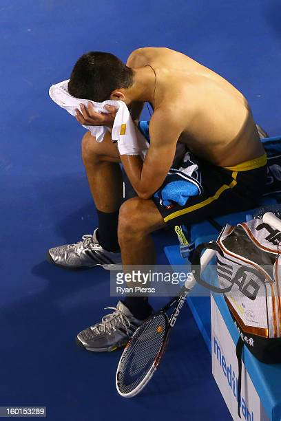 Novak Djokovic of Serbia wipes his face in his men's final match against Andy Murray of Great Britain during day fourteen of the 2013 Australian Open...