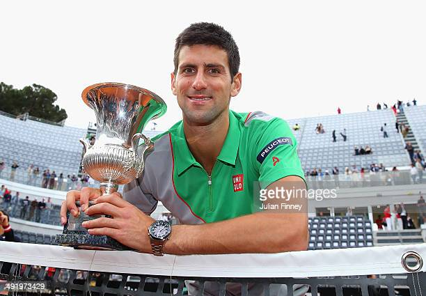 Novak Djokovic of Serbia with the trophy after defeating Rafael Nadal of Spain in the final during day eight of the Internazionali BNL d'Italia...