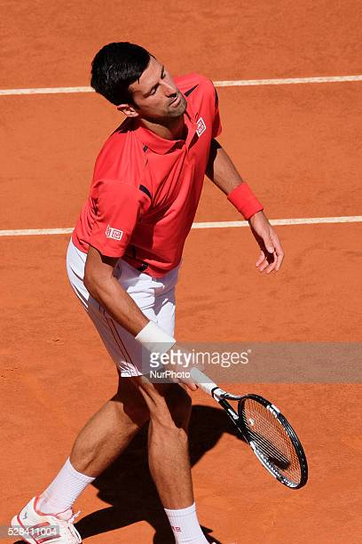 Novak Djokovic of Serbian in action against Berna Coric of Croatian during day five of the Mutua Madrid Open tennis tournament at the Caja Magica on...