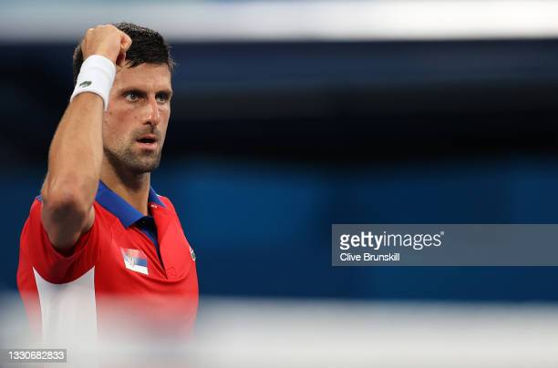 Novak Djokovic of Team Serbia celebrates after match point during his Men's Singles Second Round match against Jan-Lennard Struff of Team Germany on...