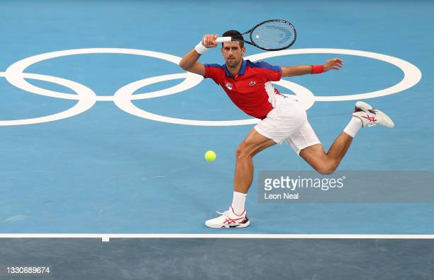 Novak Djokovic of Team Serbia plays a forehand during his Men's Singles Second Round match against Jan-Lennard Struff of Team Germany on day three of...
