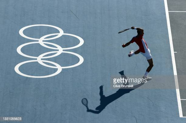 Novak Djokovic of Team Serbia plays a forehand during his Men's Singles Third Round match against Alejandro Davidovich Fokina of Team Spain on day...