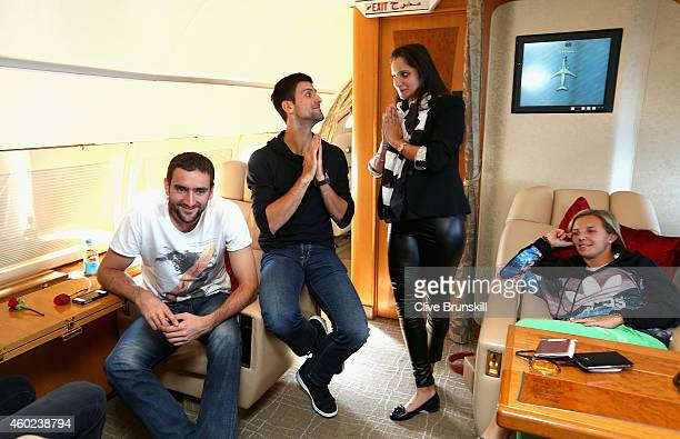 Novak Djokovic of the UAE Royals with team mate Marin Cilic as he has fun with Sania Mirza of the Indian Aces as Kirsten Flipkens of the Manila...