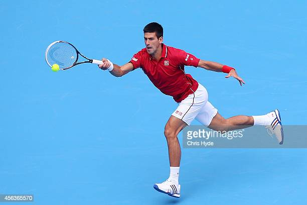 Novak Djokovic plays a forehand in his match against Guillermo Garcia-Lopez of Spain during day four of of the China Open at the National Tennis...