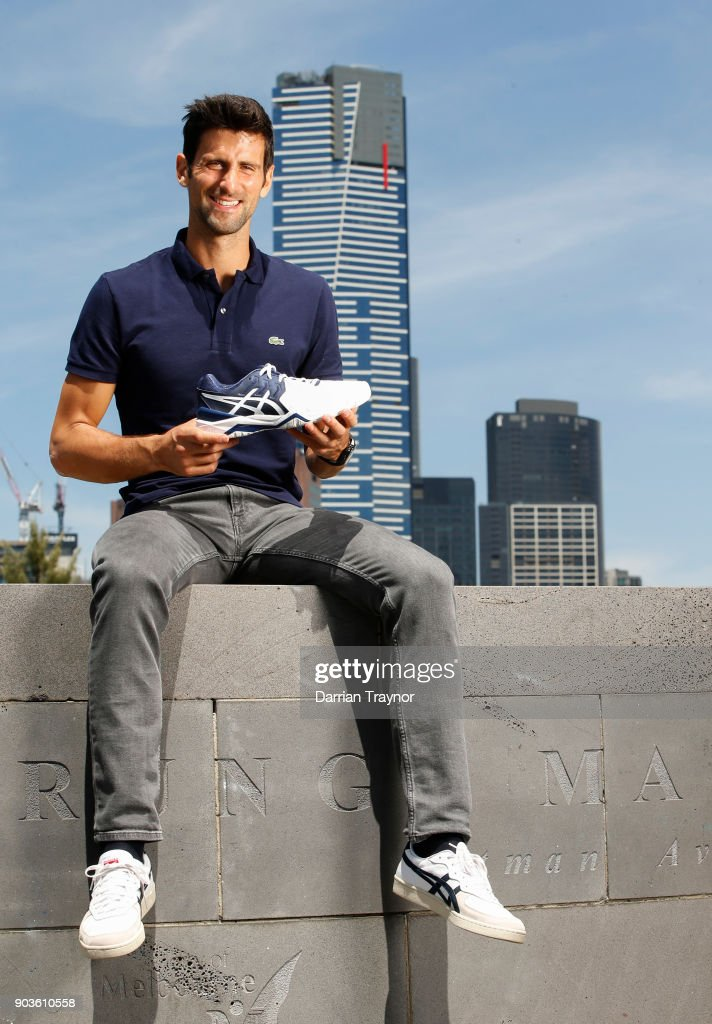 Novak Djokovic poses ahead of an ASICS Brand Ambassador Announcement on Batman Avenue Bridge on January 11, 2018 in Melbourne, Australia.