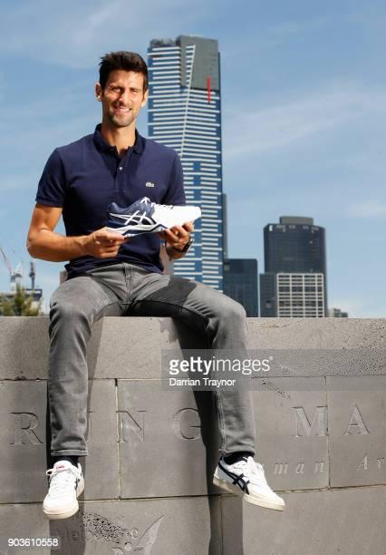 Novak Djokovic poses ahead of an ASICS Brand Ambassador Announcement on Batman Avenue Bridge on January 11 2018 in Melbourne Australia
