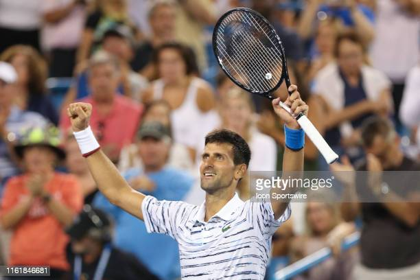 Novak Djokovic reacts after winning his match during the Western & Southern Open at Lindner Family Tennis Center on August 15th, 2019 in Mason, Ohio.