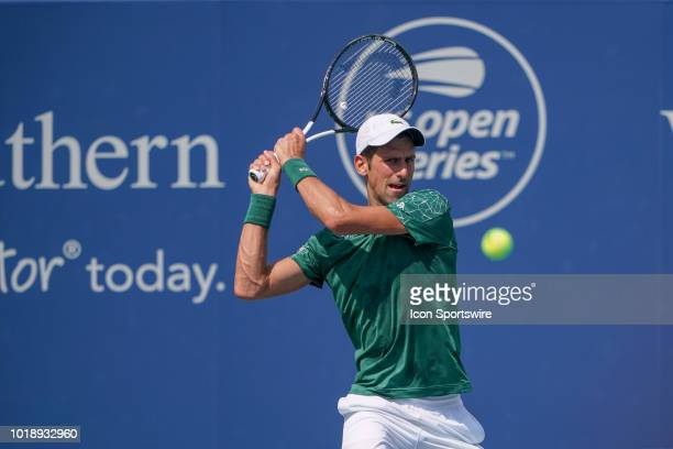 Novak Djokovic returns a serve during the semifinal match at the Western Southern Open at the Lindner Family Tennis Center in Mason Ohio on August 18...