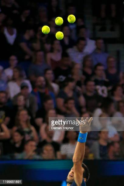 Novak Djokovic serves during the Rally for Relief Bushfire Appeal event at Rod Laver Arena on January 15 2020 in Melbourne Australia