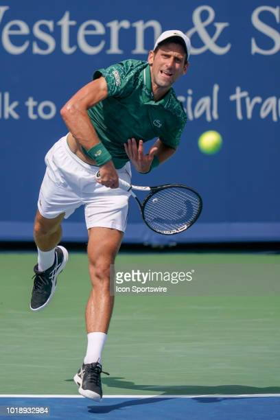 Novak Djokovic serves during the semifinal match at the Western Southern Open at the Lindner Family Tennis Center in Mason Ohio on August 18 2018