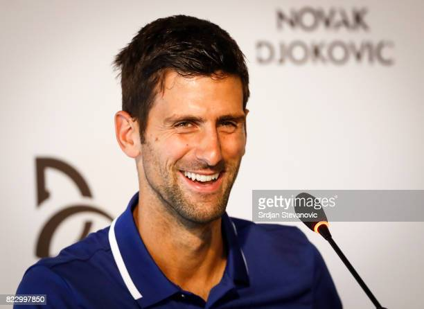 Novak Djokovic smiles during the press conference at Novak Tennis Center on July 26 2017 in Belgrade Serbia