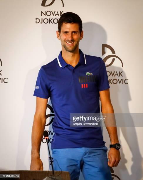 Novak Djokovic speaks to the media during the press conference at Novak Tennis Center on July 26 2017 in Belgrade Serbia Twelvetime Grand Slam...