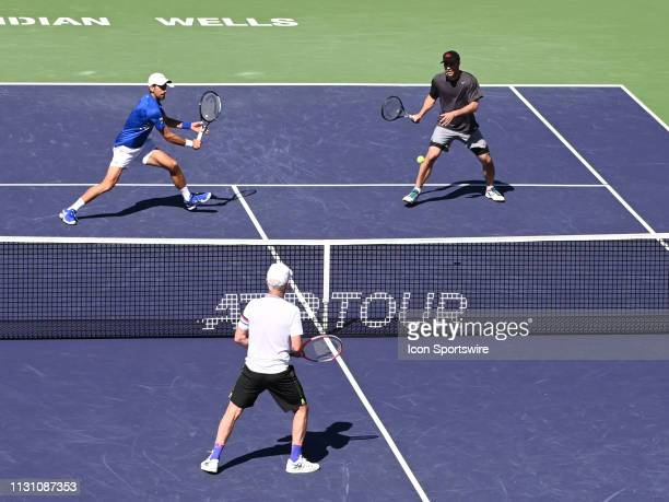 Novak Djokovic teamed with Pete Sampras in an exhibition doubles match against John McEnroe and Tommy Haas to entertain disappointed fans after...