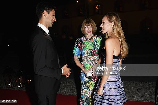 Novak Djokovic,Anna Wintourand Jelena Djokovic attend the Milano Gala Dinner benefitting the Novak Djokovic Foundation presented by Giorgio Armani at...