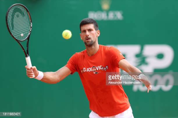 Novak Doković of Serbia plays a forehand during a training session on day 2 of the Rolex Monte-Carlo Masters at Monte-Carlo Country Club on April 11,...