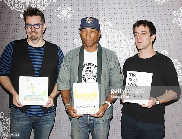 J Novak Drew Daywalt and Pharrell Williams at their book signing held at Children's Book World on December 5 2015 in Los Angeles California