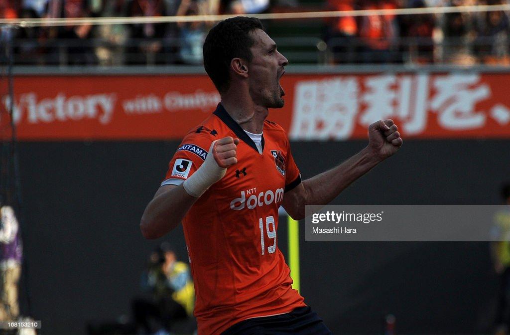Novakovic #19 of Omiya Ardija celebrates the first goal during the J.League match between Omiya Ardija and Sanfrecce Hiroshima at Nack 5 Stadium Omiya on May 6, 2013 in Saitama, Japan.