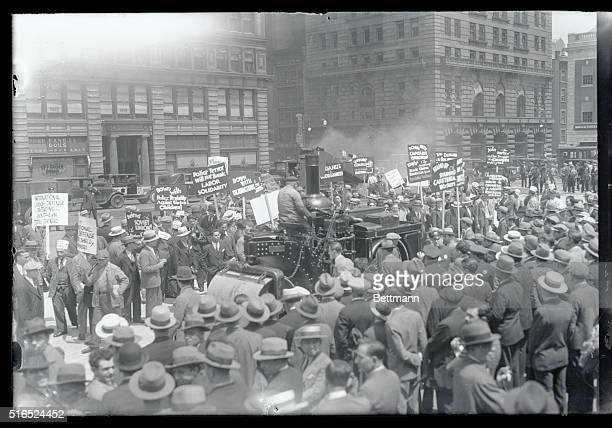 Novel way of breaking up a Communist meeting...New York City Communists were holding an open-air meeting in Union Square. Suddenly a steam roller...