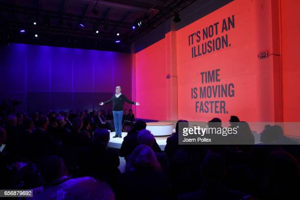 Novelist and Artist Douglas Coupland speaks during Spotlight Live the Konica Minolta Workplace Hub Launch at at Umspannwerk Alexanderplatz on March...