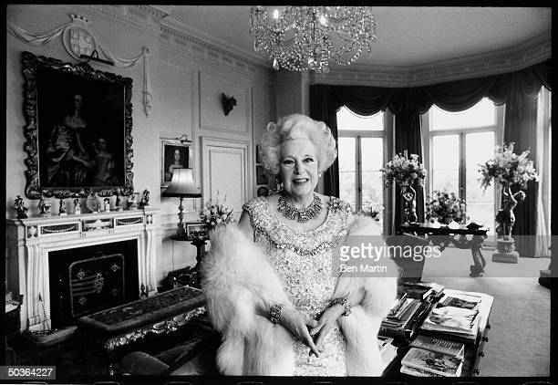 Novelist Barbara Cartland in her mansion.