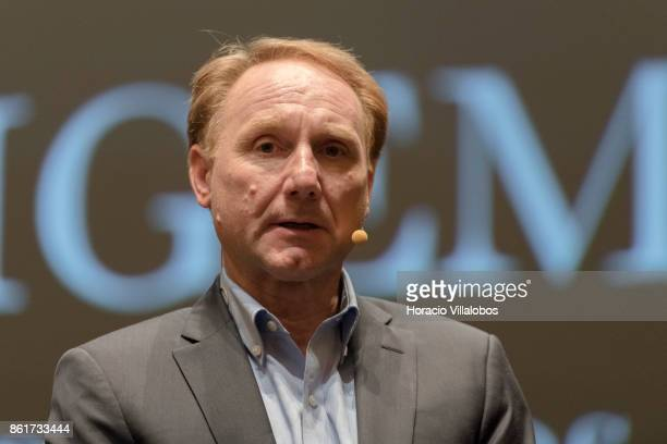 Novelist Dan Brown talks to journalists at the end of the presentation of the Portuguese edition of Origin his last book at Centro Cultural de Belem...