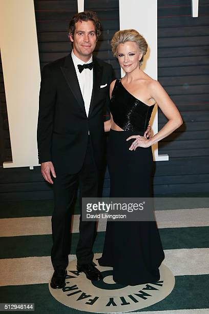 Novelist Douglas Brunt and journalist Megyn Kelly arrive at the 2016 Vanity Fair Oscar Party Hosted by Graydon Carter at the Wallis Annenberg Center...