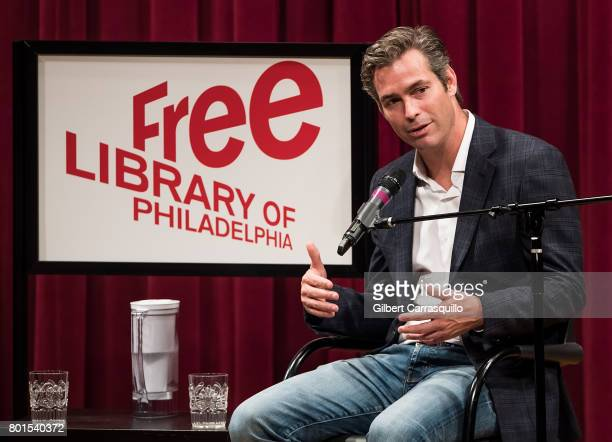 Novelist Douglas Brunt discusses his new novel 'Trophy Son' during Douglas Brunt In Conversation with Megyn Kelly at Free Library of Philadelphia on...