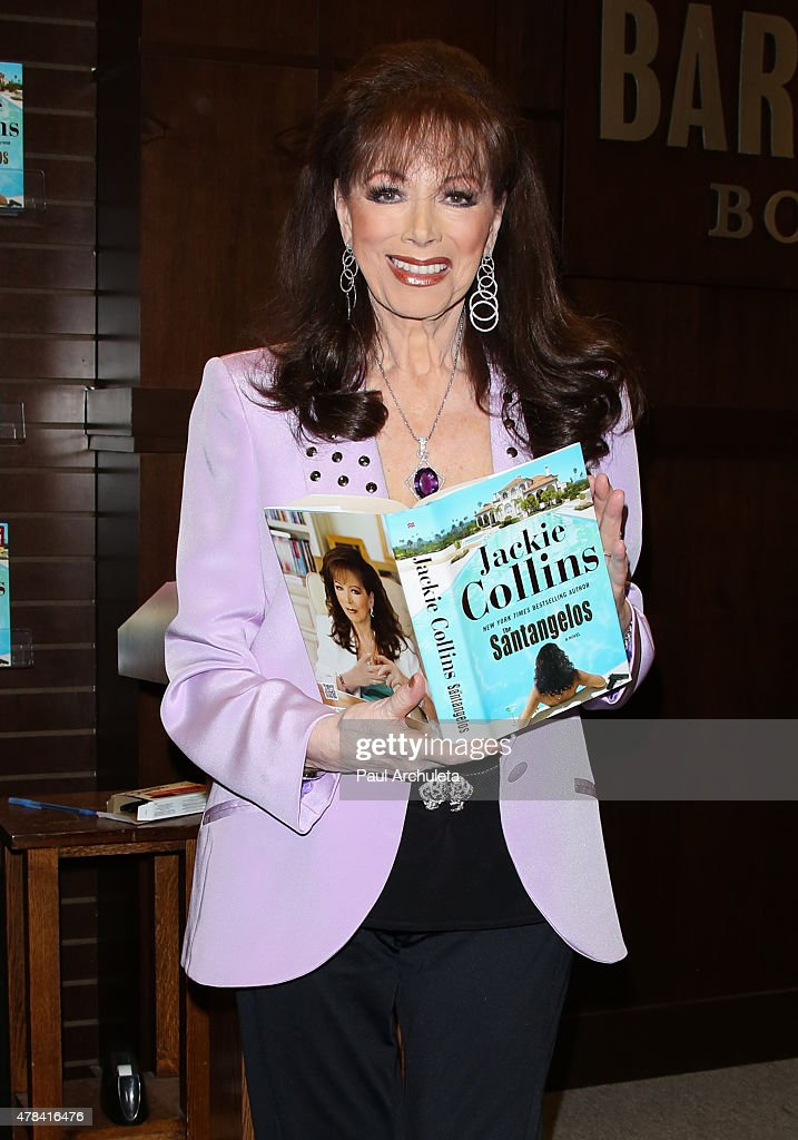 Novelist Jackie Collins signs and discusses her new book 'The Santangelos' at Barnes & Noble bookstore at The Grove on June 24, 2015 in Los Angeles, California.