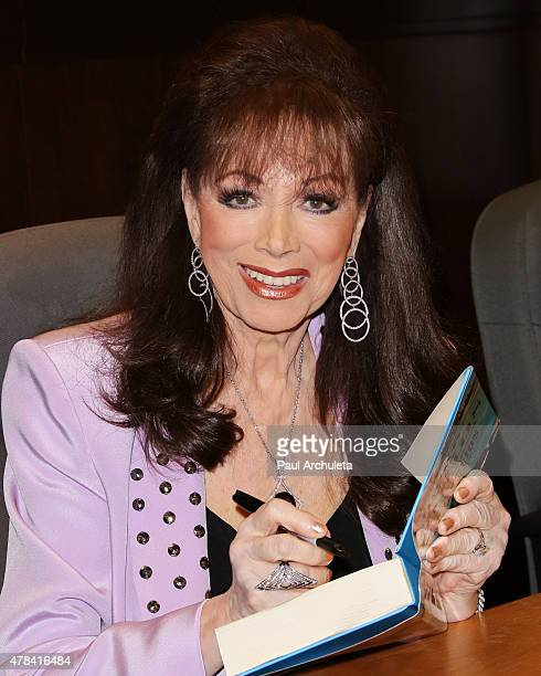 Novelist Jackie Collins signs and discusses her new book The Santangelos at Barnes Noble bookstore at The Grove on June 24 2015 in Los Angeles...