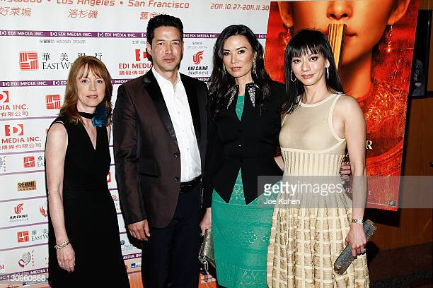 Novelist Lisa See actor Russell Wong producers Wendi Murdoch and Florence Sloan attend the 'Snow Flower And The Secret Fan' DVD And BluRay Launch at...