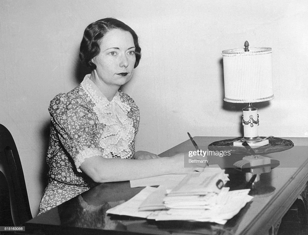 Margaret Mitchell Writing at Her Desk : News Photo
