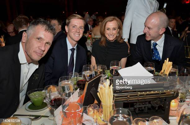 Novelist Michael Cunningham from left Chris Hughes editorinchief and publisher of The New Republic and a founder of Facebook Inc novelist Mona...