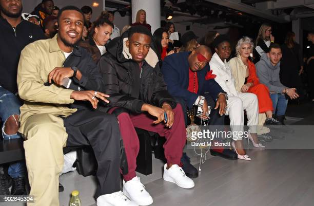 Novelist Not3s Slick Rick Clara Amfo AnneMarie and Charlie Colkett attend the Bobby Abley show during London Fashion Week Men's January 2018 at BFC...