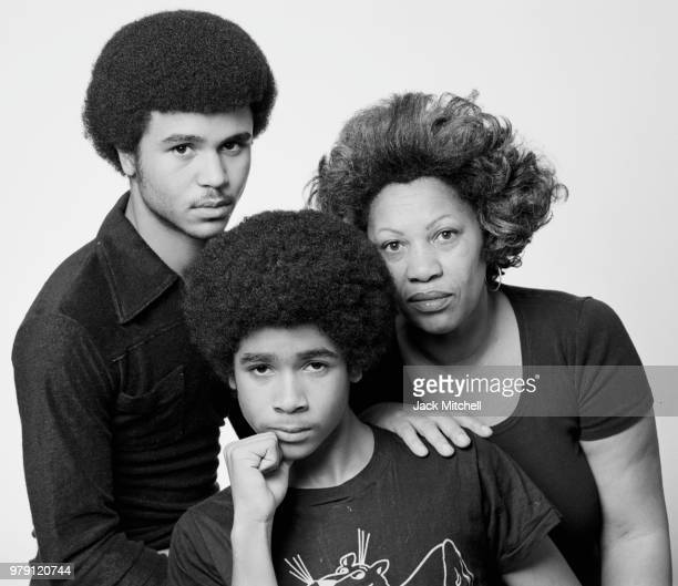Novelist Toni Morrison photographed with her sons Slade and Ford at her home in December 1978.
