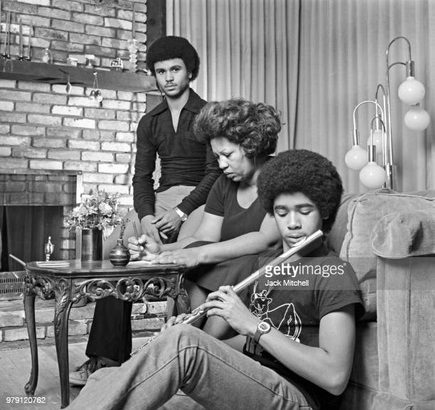 Novelist Toni Morrison photographed with her sons Slade and Ford at her home in December 1978