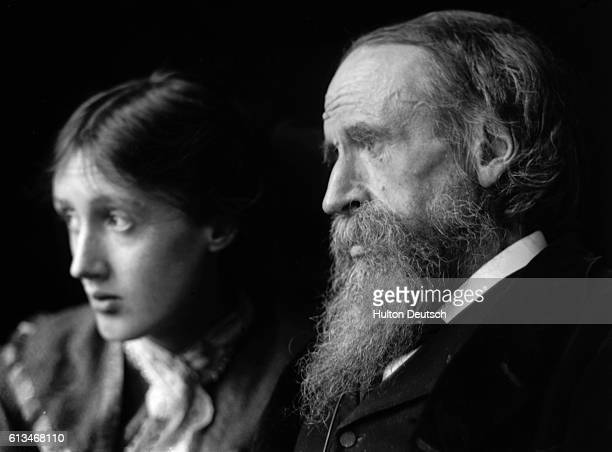 Novelist Virginia Woolf with her father the critic and scholar Sir Leslie Stephen Photograph C 1900