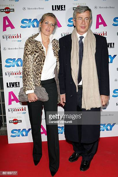 Novella Benini and Chicco Testa attend the A and SKY 60's Party Night at the Terrazza Martini during Milan Fashion Week Womenswear A/W 09 on February...