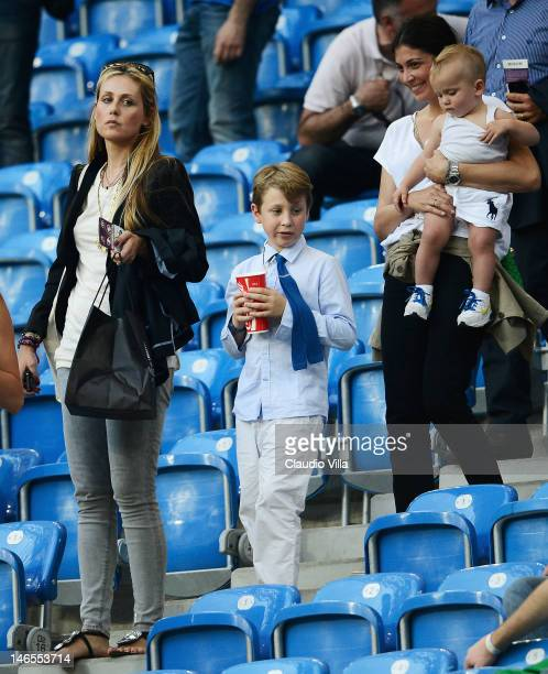Novella Benini fiancee of Italy head coach Cesare Prandelli attends the UEFA EURO 2012 group C match between Italy and Ireland at The Municipal...
