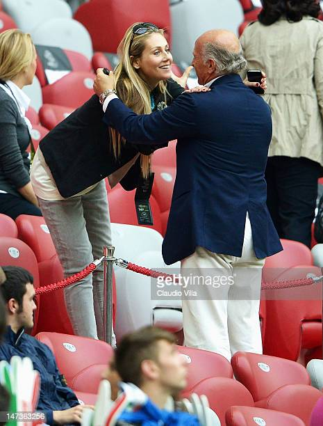 Novella Benini fiancee of Italy head coach Cesare Prandelli during the UEFA EURO 2012 semi final match between Germany and Italy at National Stadium...