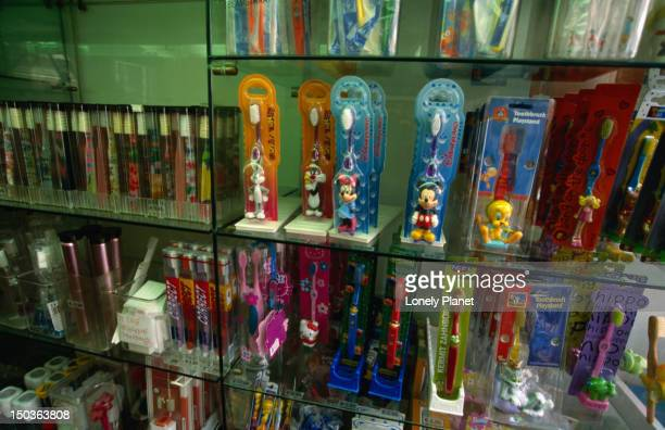 novelty toothbrushes on display at de witte tanden winkel, a specialty shop for dental care products on runstraat. - drawing artistic product stock pictures, royalty-free photos & images