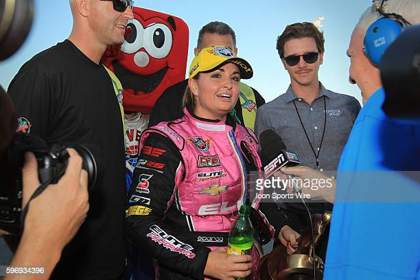 Erica EndersStevens Chevrolet Camaro NHRA Pro Stock is interviewed after winning the 15th Annual Toyota Nationals NHRA Mello Yello Drag Racing Series...