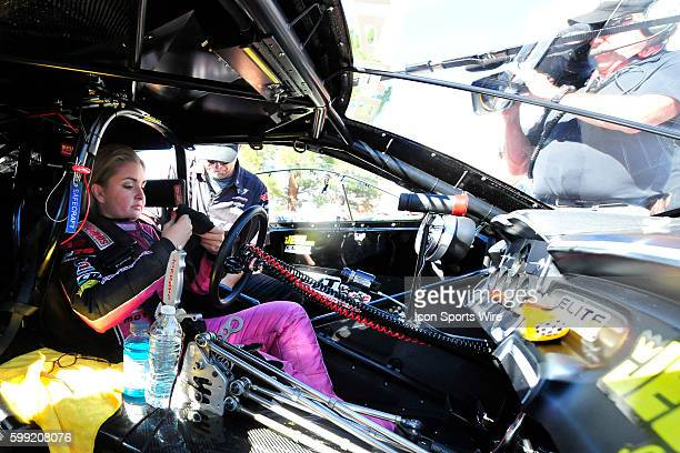 Erica EndersStevens Chevrolet Camaro NHRA Pro Stock driver prepares for the first round of eliminations during the 15th Annual Toyota Nationals NHRA...