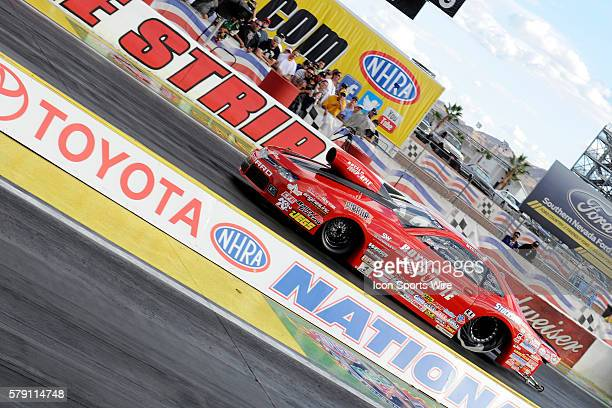Erica EndersStevens Chevrolet Camaro NHRA Pro Stock during the second round of eliminations for the 14th Annual Toyota Nationals on The Strip at Las...