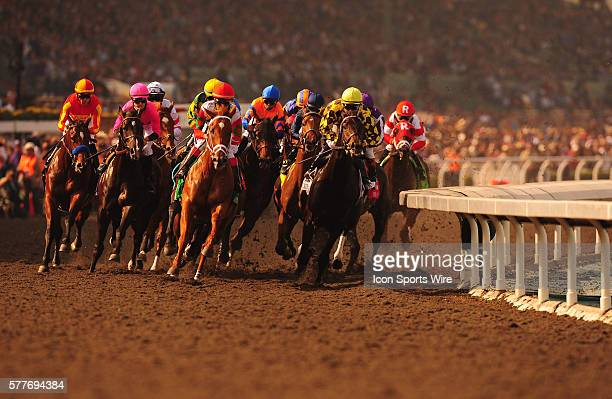 November 07 2009 PISCITELLI in front followed by a pack of racers including the winner VALE OF YORK with jockey AHMED AJTEBI during the race at Santa...