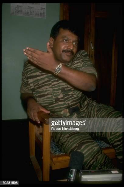 LTTE Liberation Tigers of Tamil Eelam rebel ldr Velupillai Prabhakaran during TIME interview in northern jungles of Sri Lanka