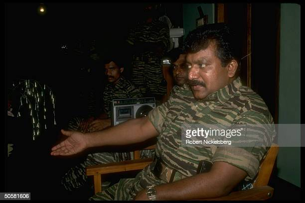 LTTE Liberation Tigers of Tamil Eelam rebel ldr Velupillai Prabakaran during TIME interview in northern jungles of Sri Lanka