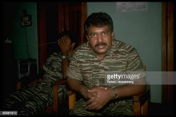 LTTE Liberation Tigers of Tamil Eelam rebel ldr Velupillai Prabakaran during TIME interview in northern jungles of Sri Lanka