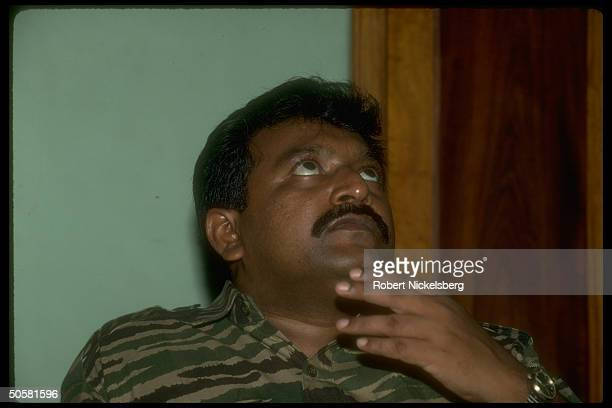 LTTE Liberation Tigers of Tamil Eelam rebel leader Velupillai Prabhakaran during TIME interview in northern jungles of Sri Lanka