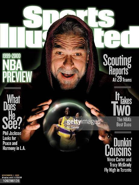 November 1 1999 Sports Illustrated via Getty Images CoverBasketball NBA Season Preview Closeup unusual portrait of Los Angeles Lakers coach Phil...