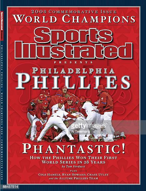 November 1 2008 Sports Illustrated Cover Baseball World Series Philadelphia Phillies in pileup huddle during celebration after winning game and...